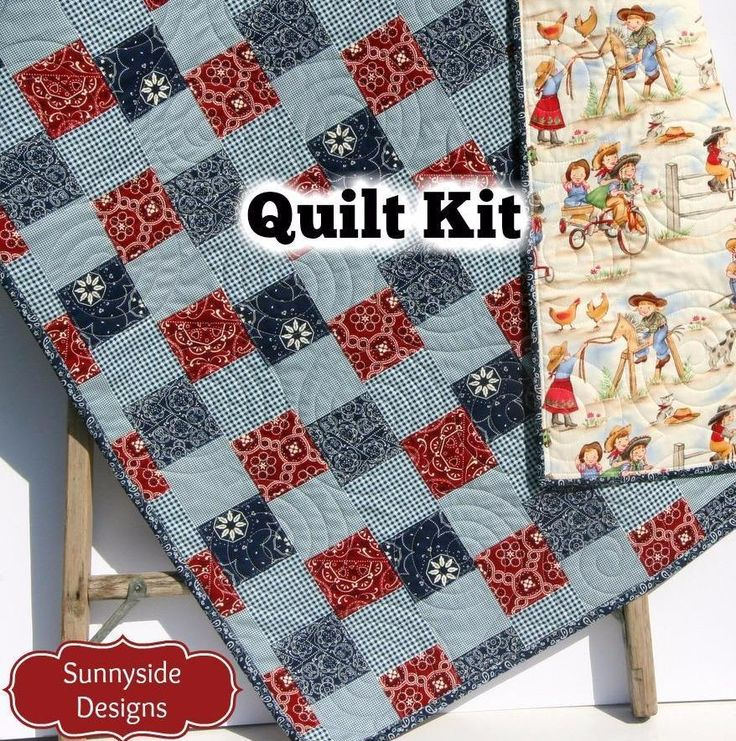 Western Baby Girl Quilt Kit, Lil Cowgirl, Bandana Faux Patchwork Panel, Beginner Quilt Kit