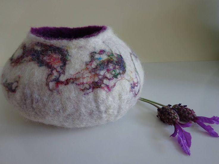 Felted bowl with sari silk - Matilda by FeltFabulousGifts on Etsy