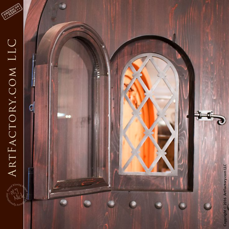 Arched Gothic Door With Hand Forged Iron Accents Ced485