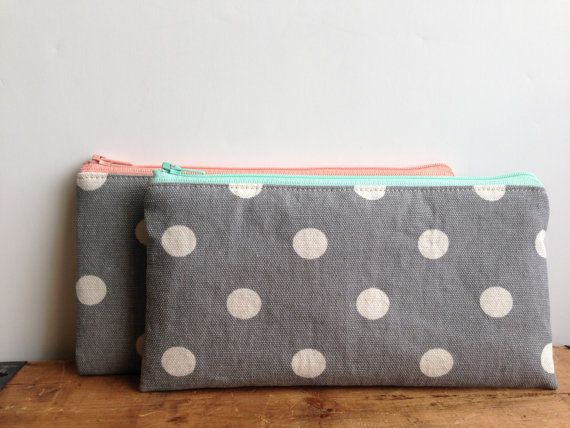 White Polka Dots on Gray Pencil Case, Mint Gray, Light Pink Gray, Cute Pencil Case, Back to School