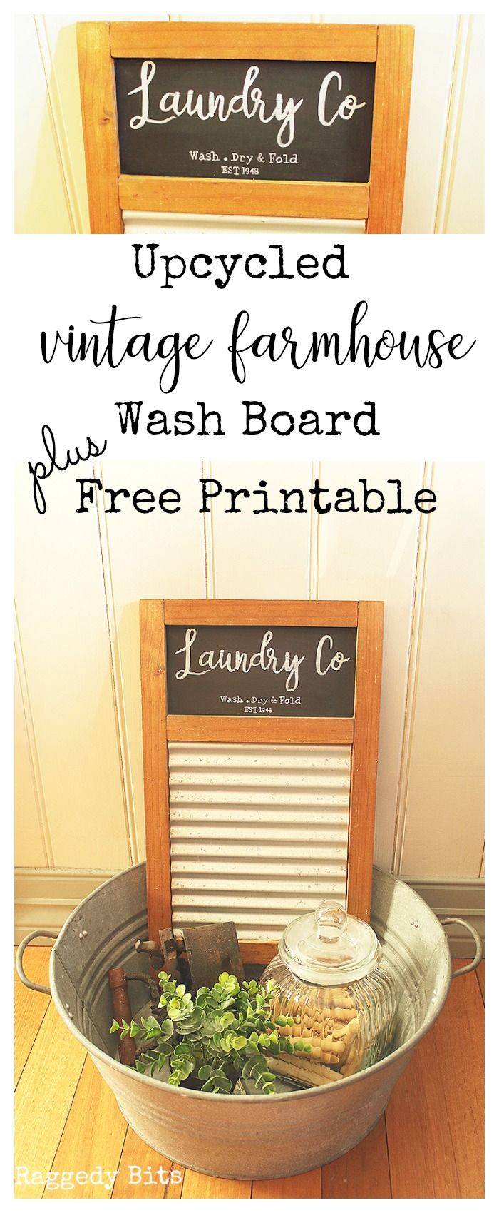 Our laundry is in the middle of a little makeover and I almost threw out this dated wash board. Sharing how our Upcycled Vintage Farmhouse Wash Board with a FREE printable   www.raggedy-bits.com
