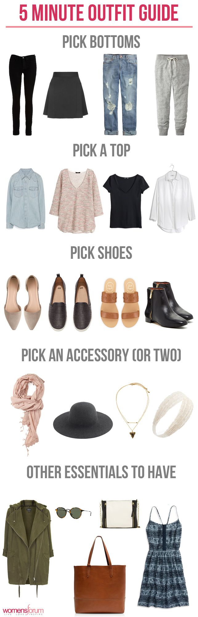 When in doubt of what to wear, try this fun 5-Minute Outfit Guide! http://www.womensforum.com/the-five-minute-outfit-guide.html
