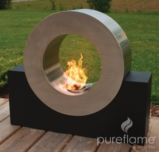 Pure Flame Freestanding Fireplaces for use indoors or out.
