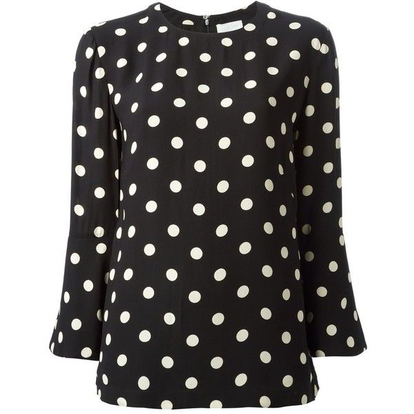 Laurence Doligé Luxe Polka Dots Loose Fit Blouse (4,330 MXN) ❤ liked on Polyvore featuring tops, blouses, black white polka dot top, loose blouse, polka dot blouse, white and black polka dot blouse and black and white polka dot top