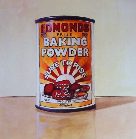 """Kiwiana Art Print - series of domestic icons by Matt Guild. This print features a still life with Edmonds baking powder tin. Edmonds is an iconic kiwi baking products brand famous for their baking powder that makes your baking """"Sure to Rise""""."""