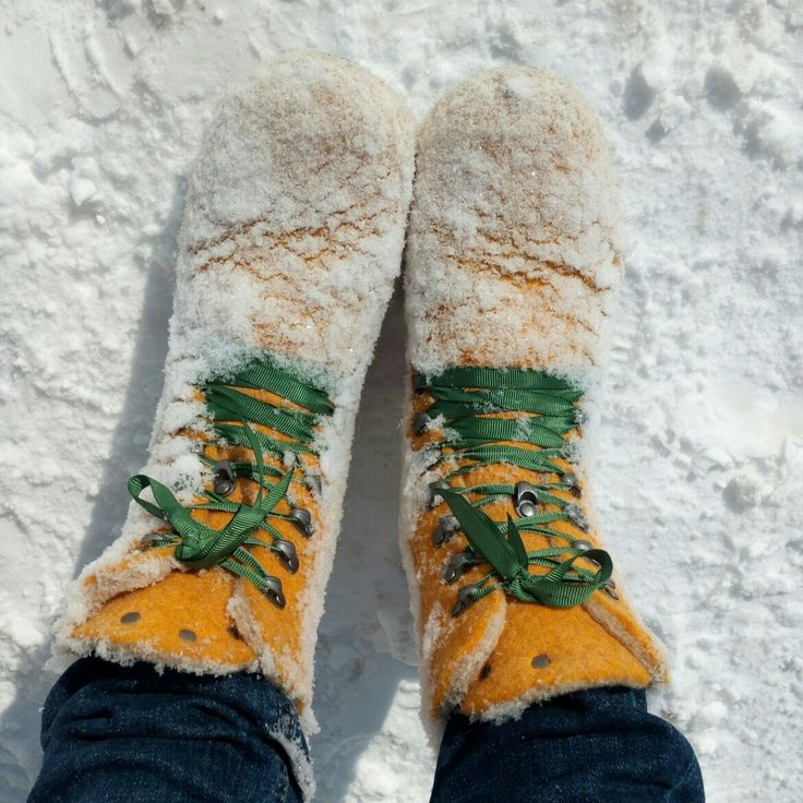Wool boots in snow.