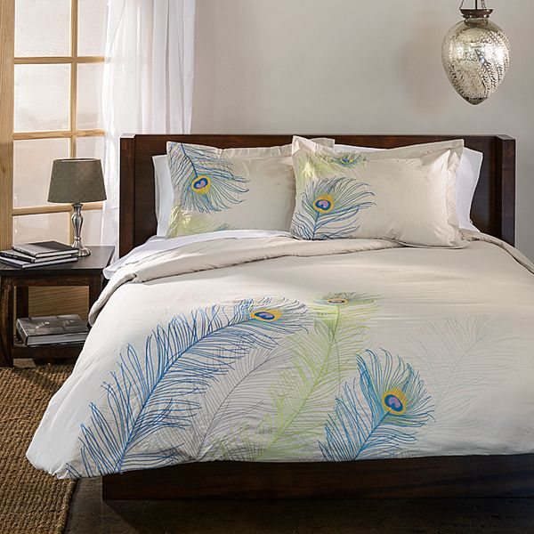update your bedroom decor with this eyecatching peacock duvet cover set made of cotton large embroidered peacock feathers add an exotic feel to this