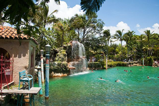 The Venetian Pool in Coral Gables, Florida... with underwater cave! My favorite pool I have ever gone to... so beautiful! <3