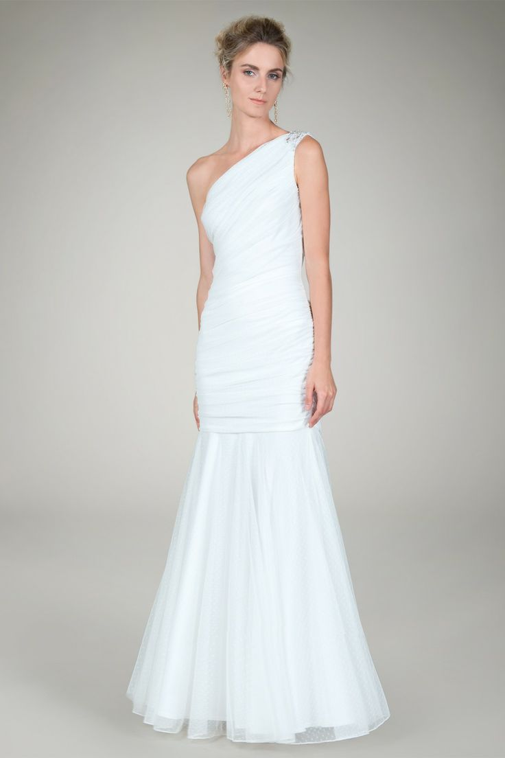 One Shoulder Ruched Gown in Ivory - Bridal Suite | Tadashi Shoji $184
