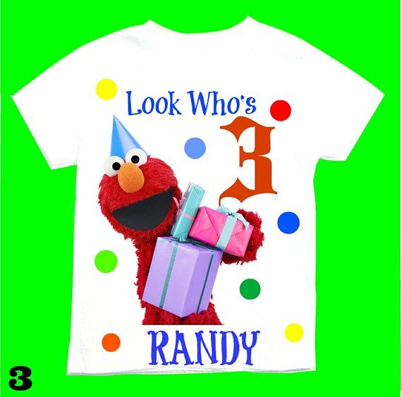 Elmo and Friends T-shirt Personalized 6months,1st 2nd 3rd 4th 5th 6th Personalization is included at no additional cost.