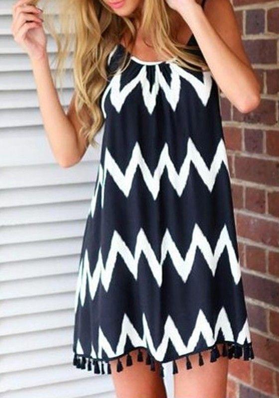 Black-White Geometric Print Tassel Backless Chiffon Dress - Mini Dresses - Dresses