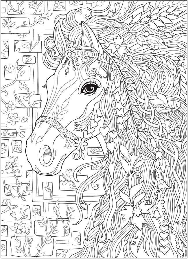 Creative Haven Dream Horses Coloring Book Dover Publications
