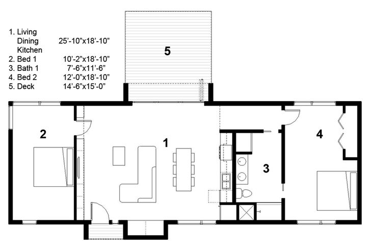 Energy Efficient Green Home Floor Plans 2BR 1BA 1 FLOO