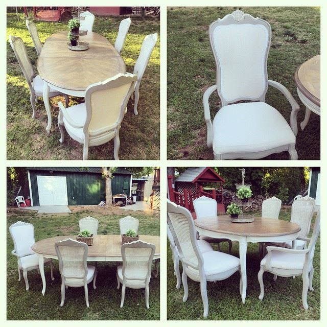 Upcycled, refreshed, French Provincial Dining set. Upholstered cane back captains chairs, painted grey and white, glazed, Provincial and Classic Grey minwax stain on table top, white and brown glaze on the bottom. Painter's drop cloth for material, bleached. Lace trim.