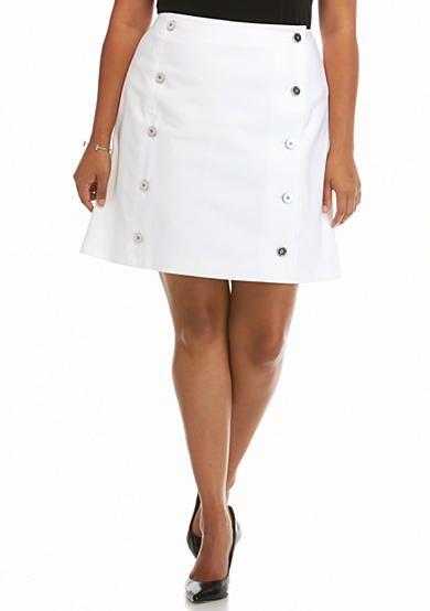 Michael Kors Plus Size Button Down Mini Skirt