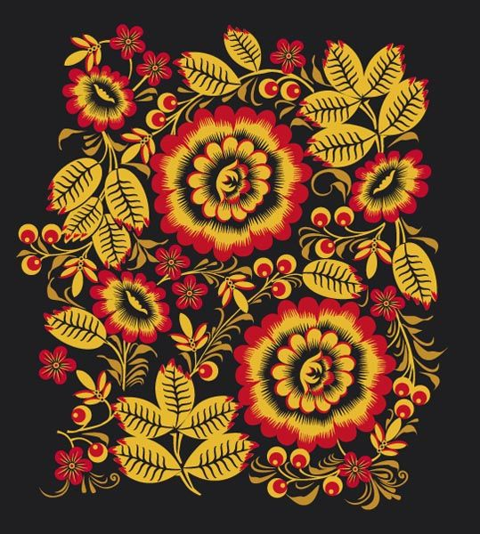 Folk Khokhloma painting from Russia. A floral pattern in black, red and golden colours. #art #folk #painting #Russian