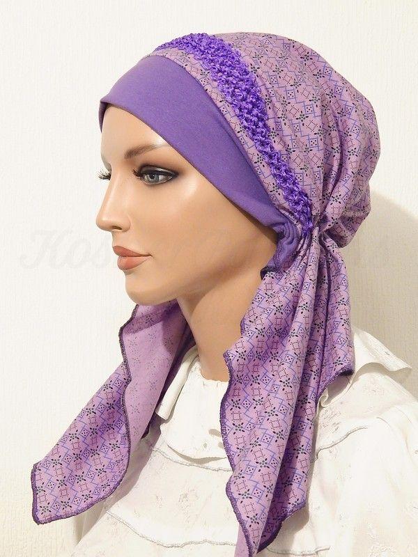2015 Purple Geometric Print Braided Elastic Headband_02