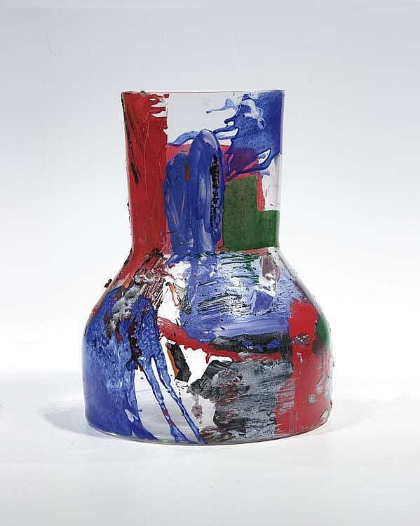 Colorless glass, painted with enamel colors and baked, 1987, 26,5 cm