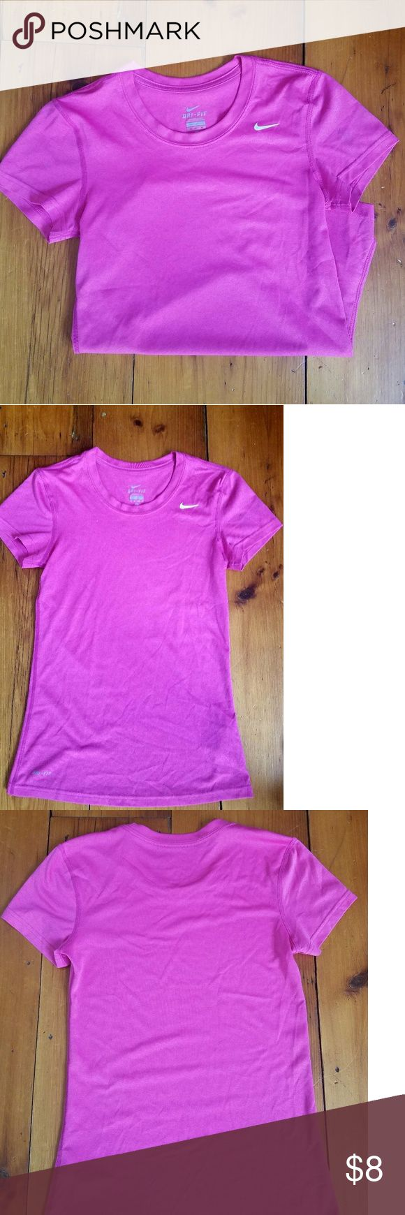 Nike Dri-Fit Tee Pink XS athletic tee. There are 2 small marks on the left sleeve that look to be pen marks (see last pic) but no flaws other than that. Nike Tops Tees - Short Sleeve