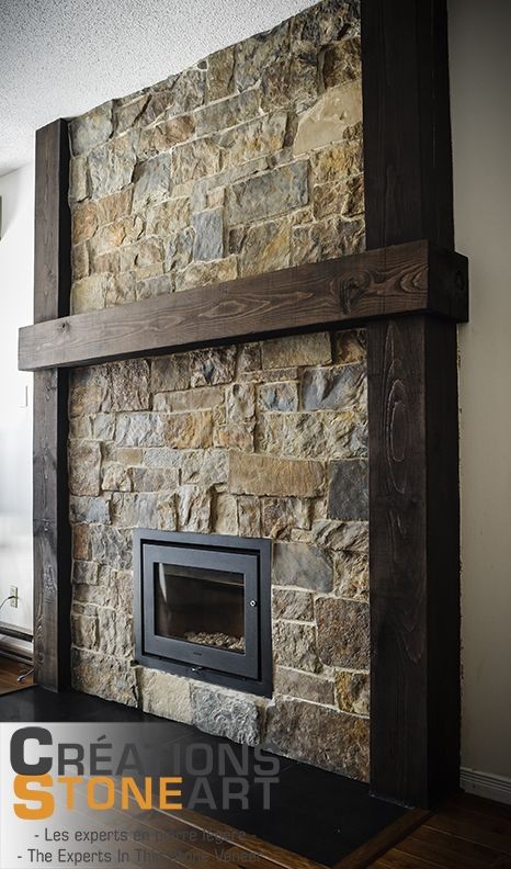 Fireplace done with kiamichi natural thin stone veneer from robinson rock black porcelain tile - Beautiful stone fireplaces that rock ...