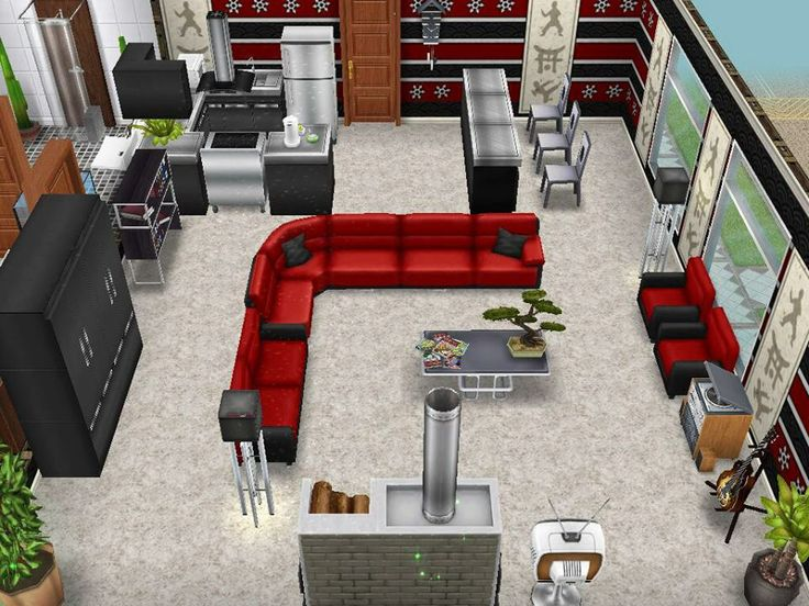Sims Freepay An Idea Or Asian Inspired Kitchen And Living Room