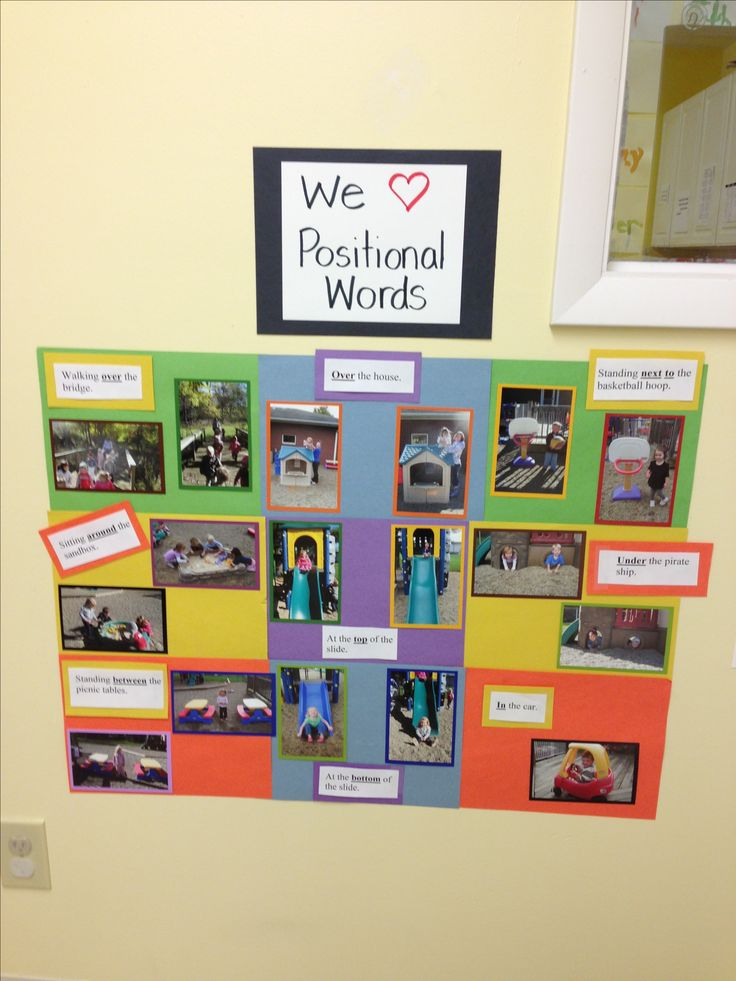 Takepictures of preschoolers using positional words on the playground. Make a poster & display in the classroom along with a sentence describing each picture (with the positional word underlined). The kids find themselves on the display and tsay where they're at in their picture. It also helps the kids with the concept that print carries a message
