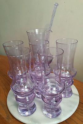 Bo Borgstrom Neodymium Art Glass Cocktail Set Scandinavian Glass  Pitcher Jug