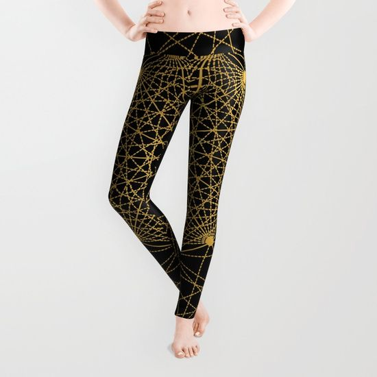 Geometric Circle Black and Gold Leggings by Fimbis __________________________ #blackandgold #golden #yoga #yogapants #exercise #fashion   __________________________  Our proprietary six-panel cut and sew construction provides an unprecedented quality in fit and versatility with an adjustable waist line for wearing high, low or somewhere in between. Using the highest quality anti-microbial polyester spandex material, these premium leggings wick moisture and remain breathable