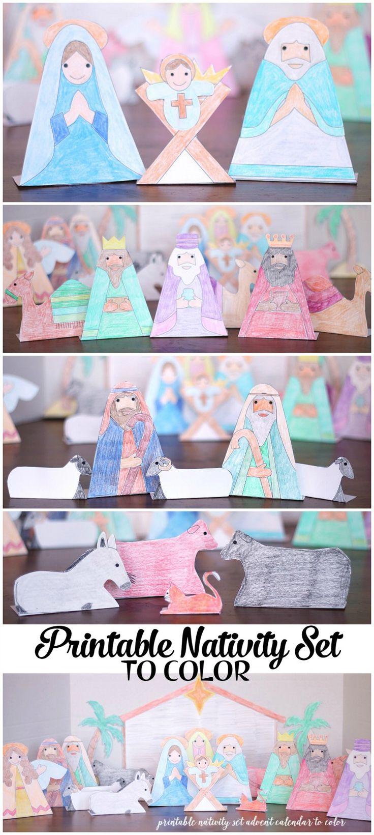 Nativity Advent Calendar to Print and Color