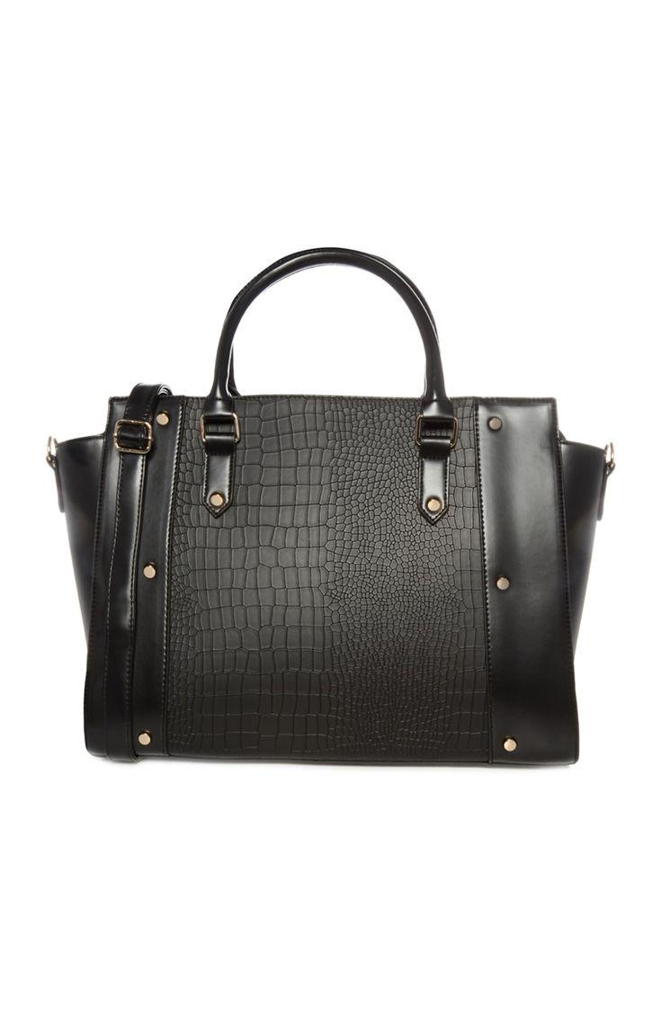Primark - Large Black Croc Effect Tote Bag