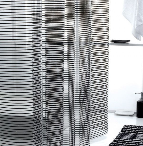 Mid Century Shower Curtain Part - 29: Black Stripe Clear Shower Curtain