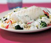Fisk+på+pasta+med+broccoli,+majs+och+paprika