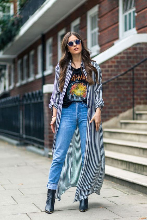 London Fashion Week Street Style - Striped duster jacket, graphic T-shirt, high-rise mom jeans, and ankle boots. | Because I'm Addicted