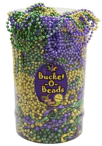 his bucket of Mardi Gras Beads contains all the necklaces you'll ever need