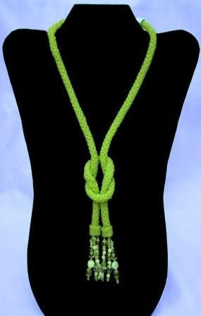 Lime Rope Knotted Necklace by CMTbeadwork on Etsy, $125.00