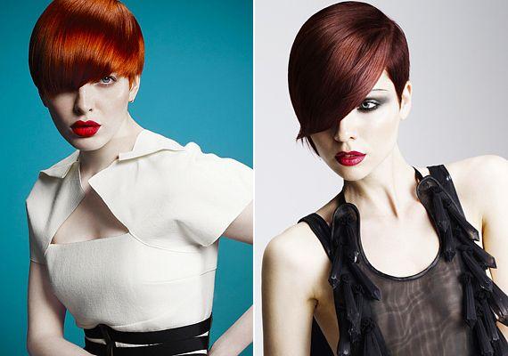 Szupernőies frizurák hosszú frufruval: a hófehér bőrrel az élénk rubinvörös árnyalatok is jól harmonizálnak, ám, ha az eredeti hajszíned barna, és a bőröd sötétebb árnyalatú, inkább a vörösesbarna tónusoknál maradj.