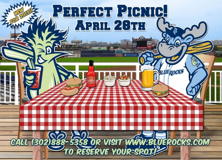 Come out for the Blue Rocks Perfect Picnic! On Sunday, April 28th we will be offering individual tickets on our picnic area. Menu items include hot dogs, burgers, fried chicken, pasta salad, and dessert! We also have vegetarian options! In honor of our 21st season, tickets are just $21! Call (302) 888-5358 or check out www.bluerocks.com !