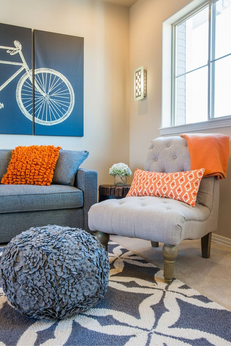 navy blue and orange living room