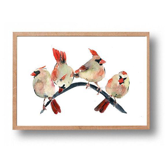 Cardinals Gathering Cardinals Watercolor Print