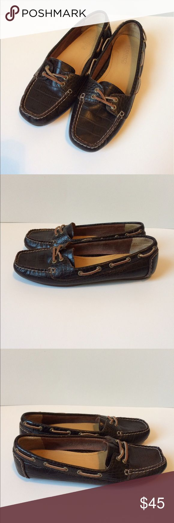 Sperry Top Sider loafers ladies 🌷🌸SPRING SALE🌸🌷 $2 off single items! Use the Offer button and offer $2 below the list price and it will be accepted! (Will still entertain other offers) Adorable croc style leather loafers! Beautiful rich dark leather. Leather laces. Virtually no wear and tear! Worn maybe twice! Very minimal scuffing on back shown in last photo. Excellent condition! 💲I ❤️ OFFERS!💲 🌟TOP-RATED🌟 📦📬FAST SHIPPER📬📦 🎁USE BUNDLE FOR SAVINGS🎁 Sperry Top-Sider Shoes Flats…