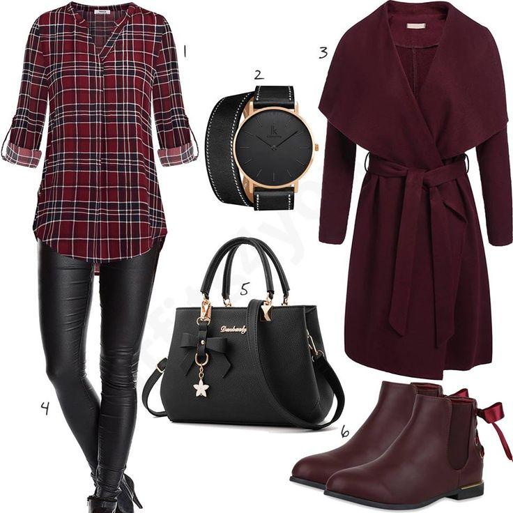 Damen-Style in Weinrot und Schwarz mit Bluse - outfits4you.de