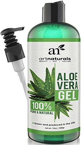 ArtNaturals Aloe Vera Gel for Face, Hair & Body - Certified Organic, 100% Pure Natural & Cold Pressed 12 Oz - For Sun Burn, Eczema, Bug or Insect Bites, Dry Damaged Ageing skin, Razor Bumps and Acne