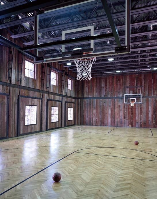 Pole barns with basketball court joy studio design for Basketball hoop inside garage