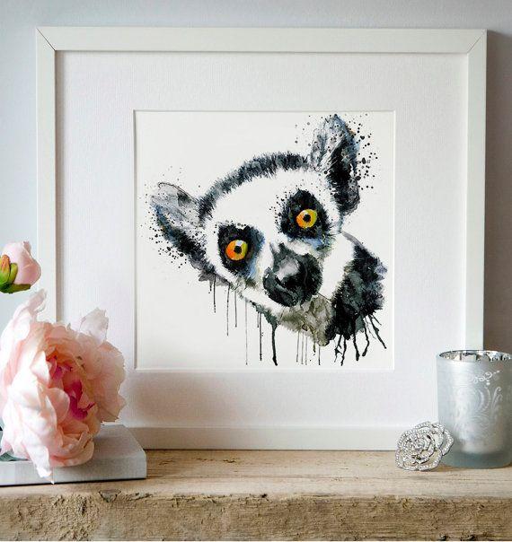 Cute Lemur Head Watercolor portrait Animal art by Artsyndrome