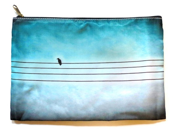 Cosmetic Bag Art Photography Blue Bird On by CandyMountainPhotos, €12.00