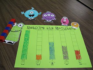 Monster Measurement The students had to measure each monster with cubes. When they were finished, he/she had to tell me which monster was the tallest and which monster was the shortest. I got this idea from Mrs. Lee's Monster Madness packet on TPT. Check it out!