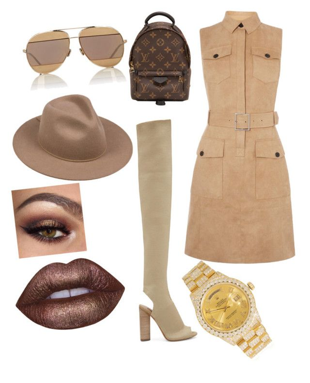 """""""Bossed up"""" by yasmineings on Polyvore featuring YEEZY Season 2, Karen Millen, Louis Vuitton, Christian Dior, Lack of Color, Lime Crime and Rolex"""