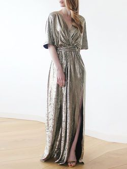 #Maxi Metallic Gold Bat Sleeves #Dress