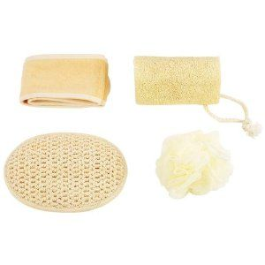 """4PC BATH AND BODY SET by SpaSak. $12.22. Resealable clear bag. Body Puff. Wash Pad. Headband. Loofah. Includes loofah, body puff, wash pad, and headband. Bag measures 8"""" x 6-1/2"""" x 2"""". Packed in PVC bag. Carded."""