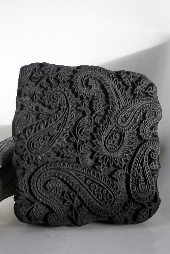 Hand carved antique india textile wood block paisley stamp